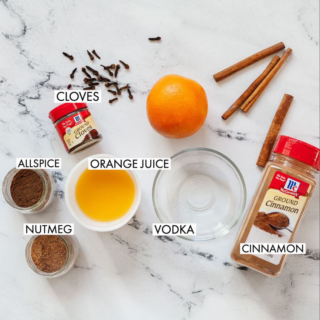 ingredients for a spiced vodka orange juice