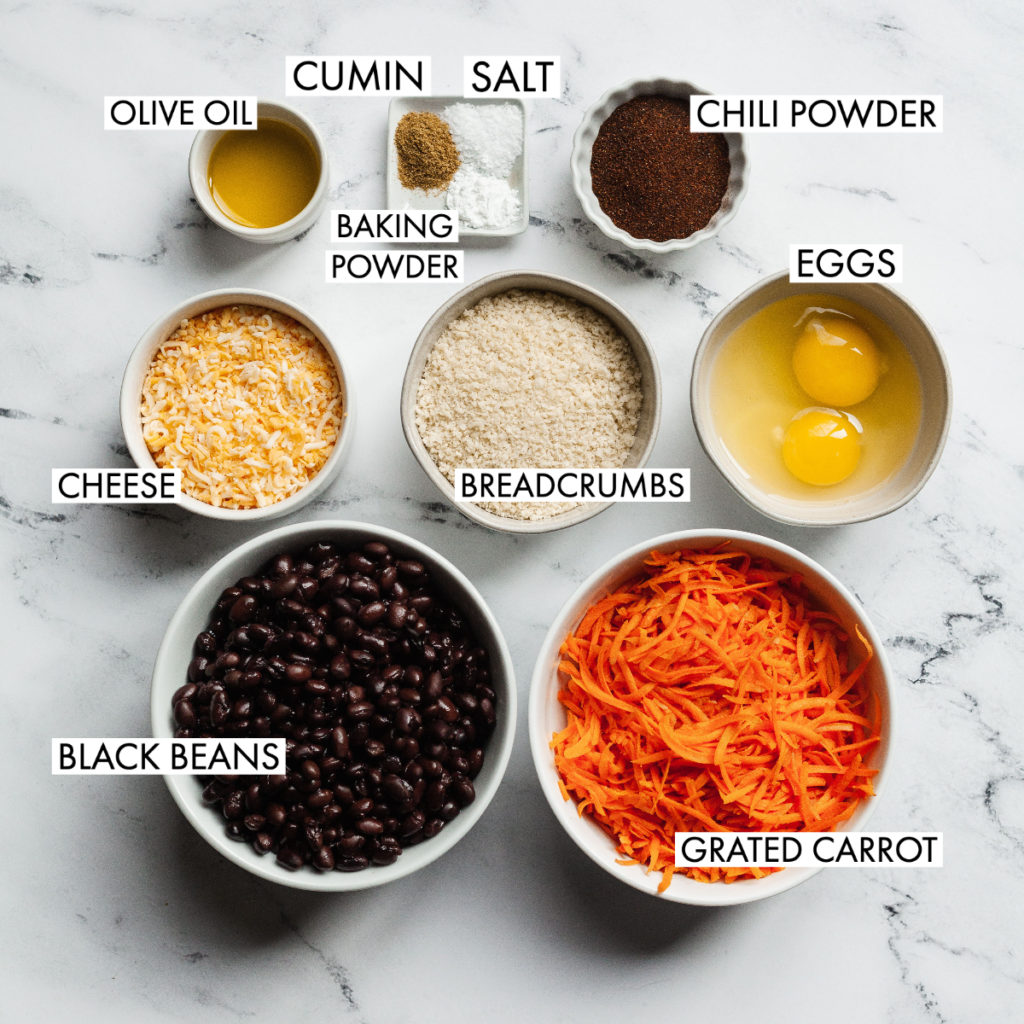 ingredients for easy black bean burgers