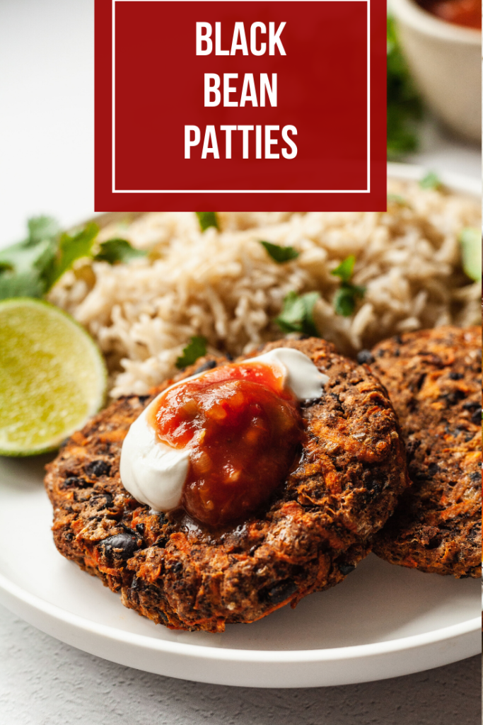 pinterest image for black bean patties
