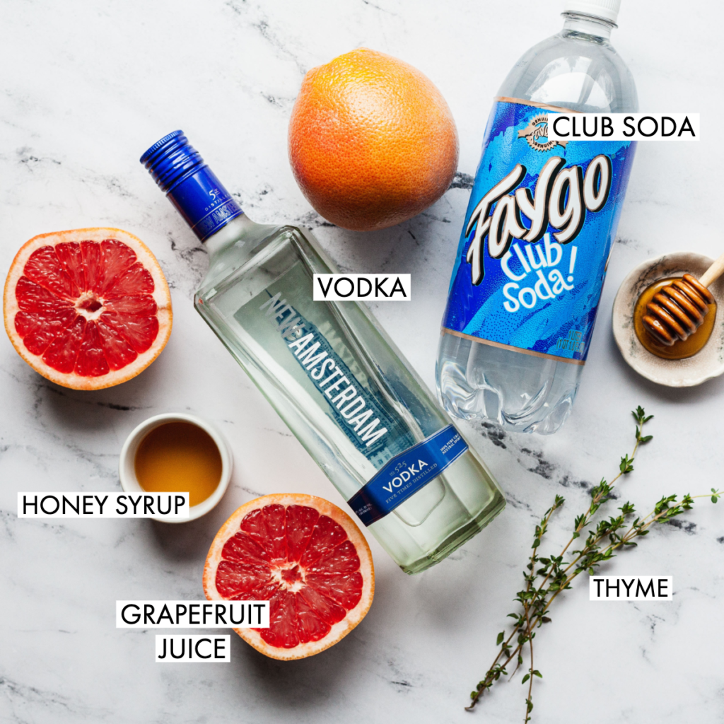 ingredients for a fizzy greyhound cocktail
