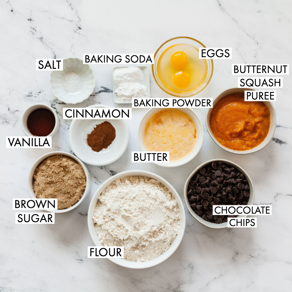 ingredients for butternut squash snack cake recipe