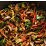 fajita veggies in a pan