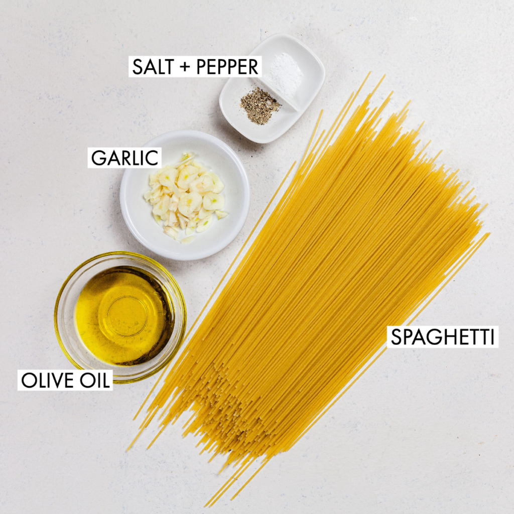 ingredients for spaghetti aglio olio