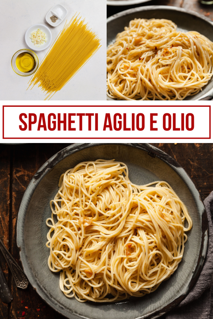 pinterest image for spaghetti aglio e olio
