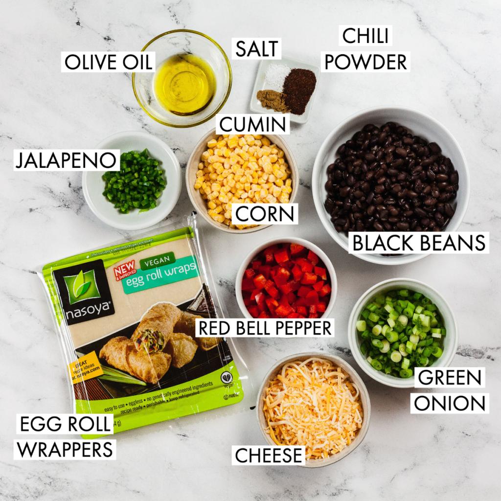 ingredients for vegetarian baked southwest egg rolls