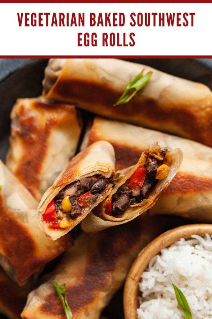 southwest egg rolls with one cut in half to show the filling