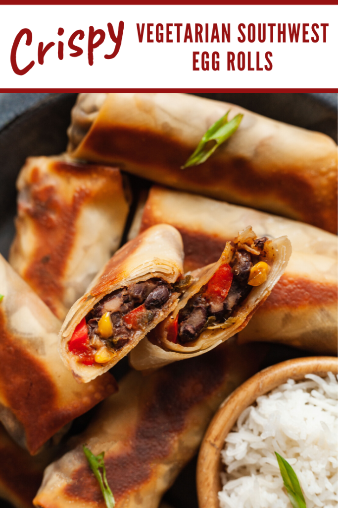 golden brown egg rolls with one cut in half to show a black bean and corn filling
