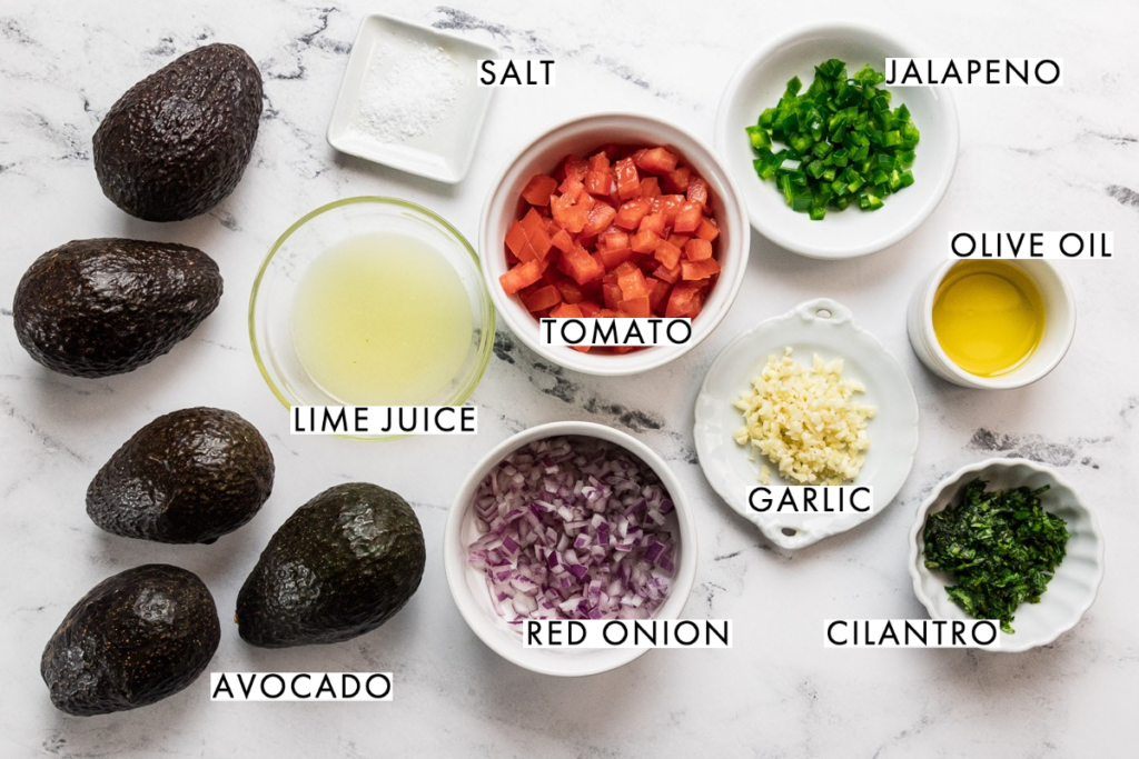 Ingredients for healthy guacamole