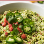 a bowl of healthy guacamole