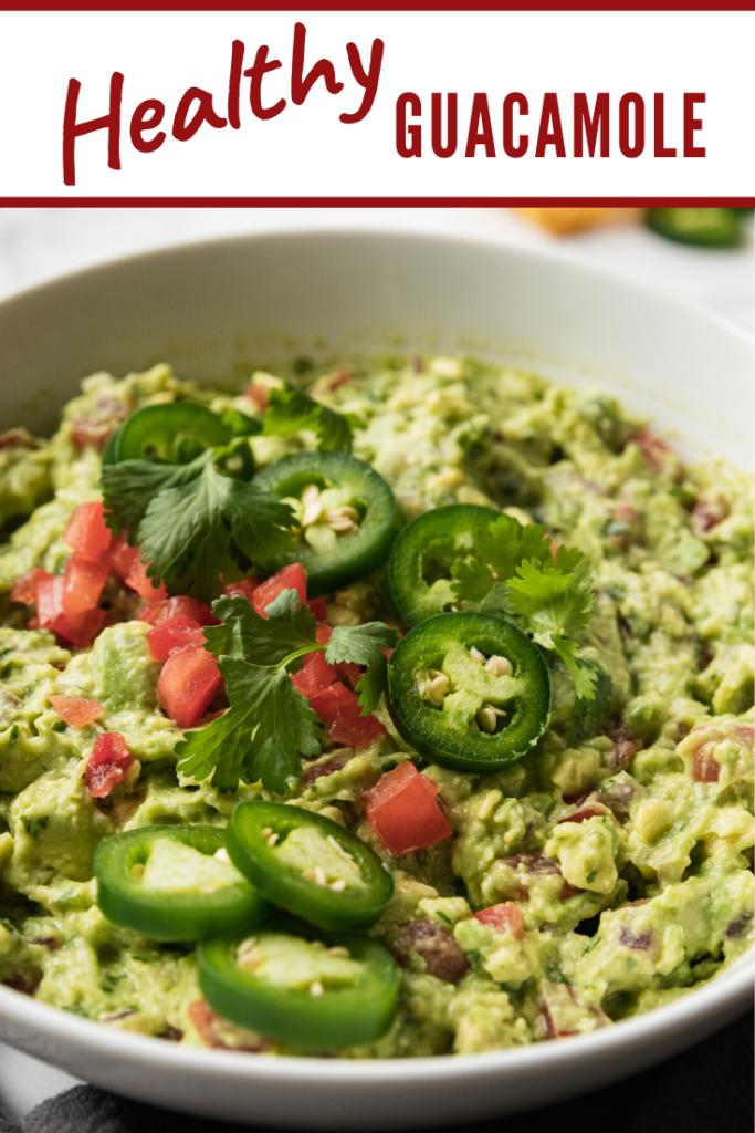 a bowl of healthy guacamole