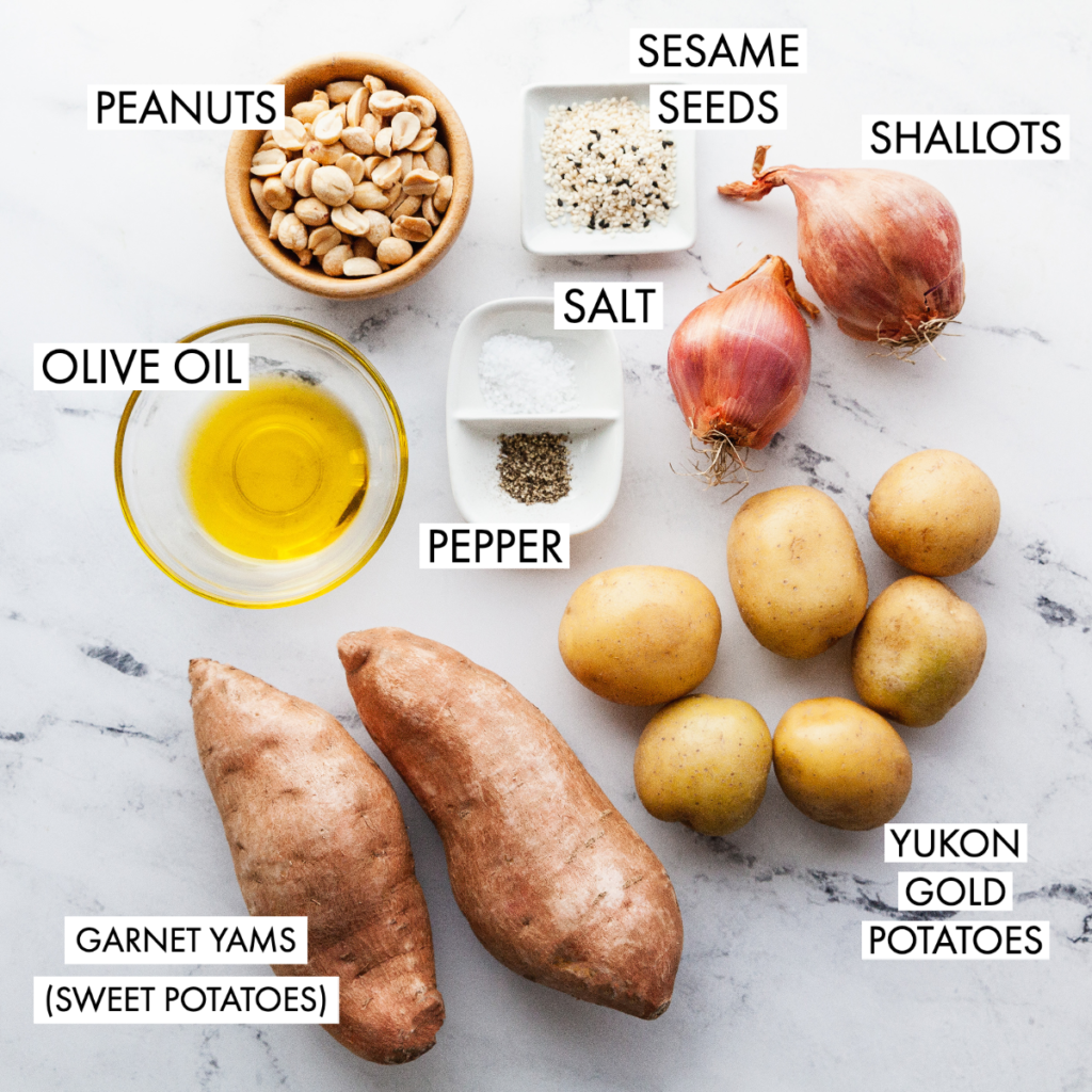 ingredients for crispy roasted potato bowl