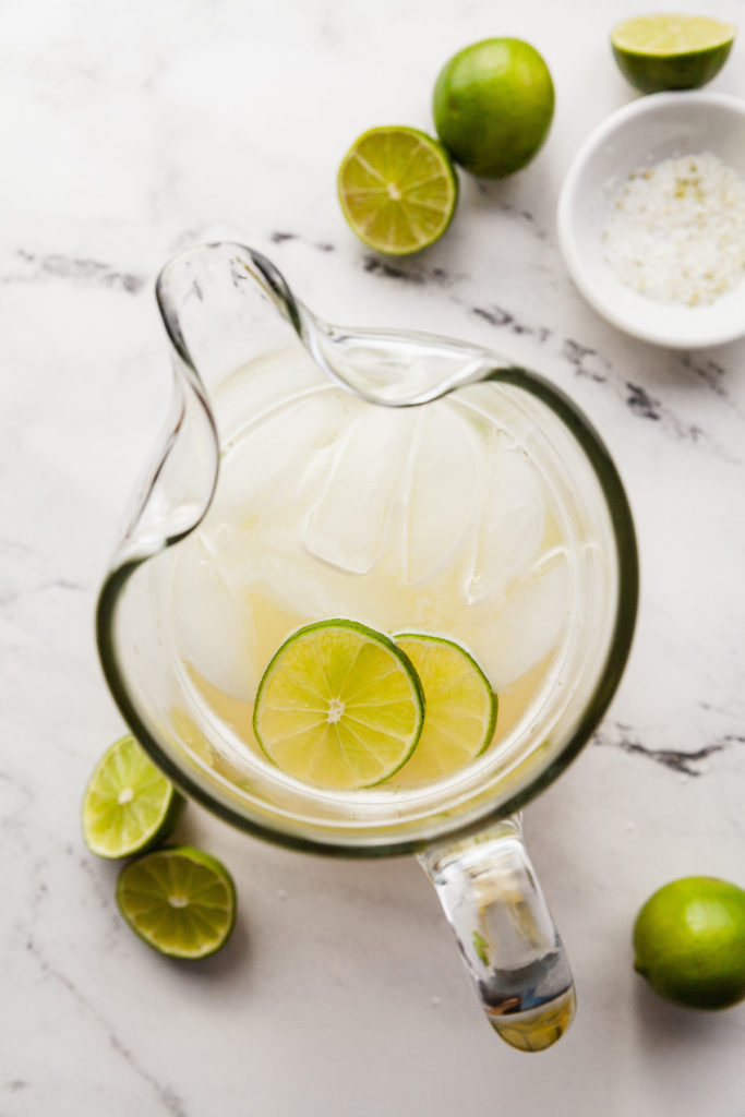 margaritas in glass pitcher