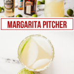 margarita ingredients and a margarita in a salted glass with limes