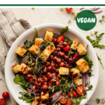 a white bowl of barbecue chickpea salad