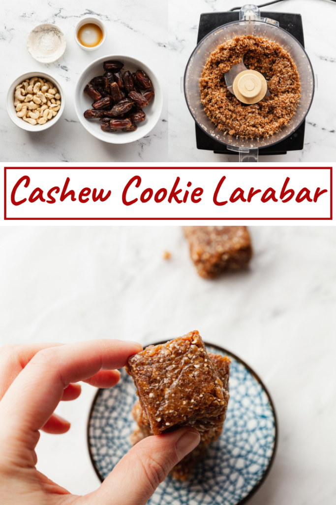 ingredients and finished cashew cookie larabar