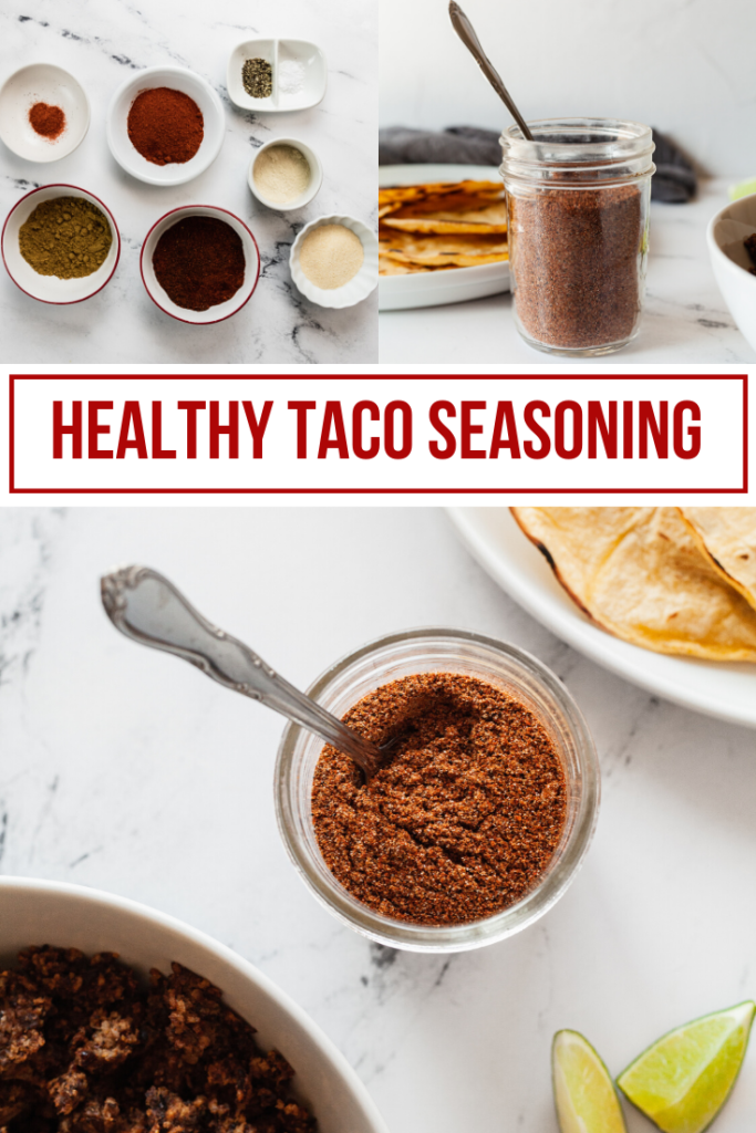 collage image for healthy taco seasoning