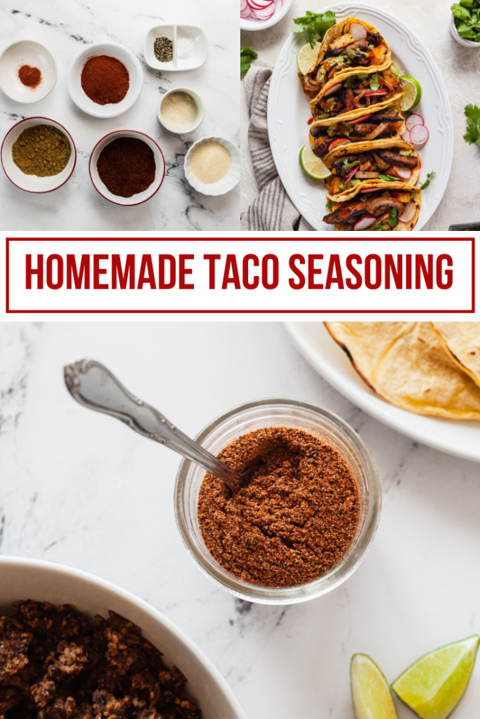 collage image for homemade taco seasoning