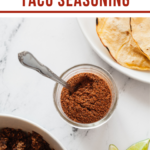 a jar of taco seasoning made from pantry ingredients