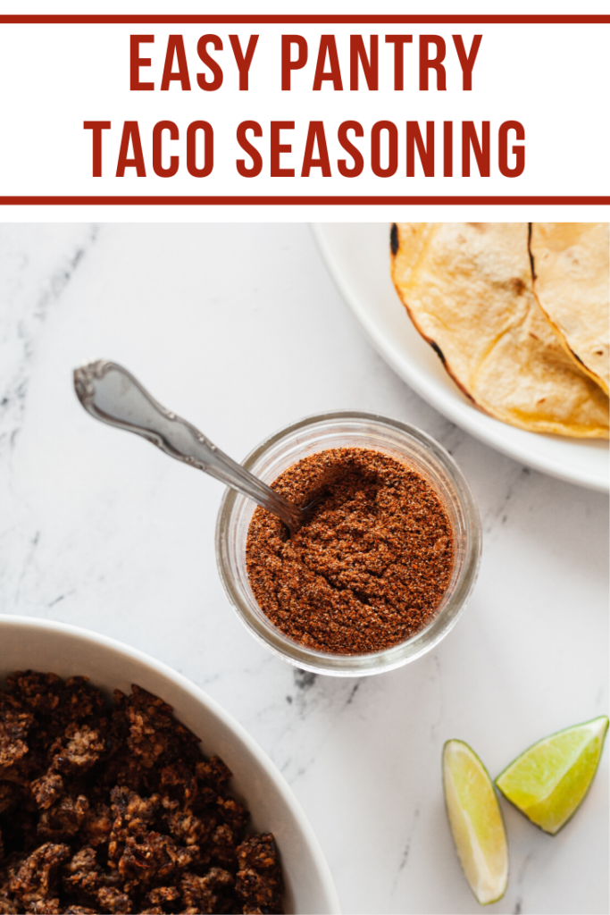 a jar of taco seasoning made from pantry ingredients