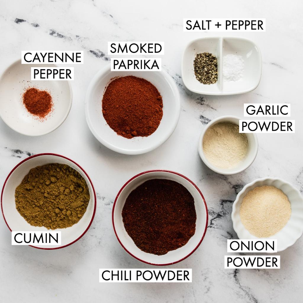 ingredients for healthy taco seasoning