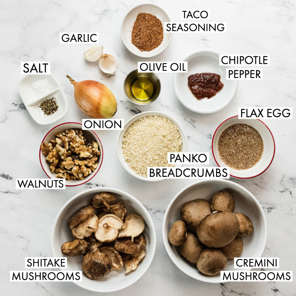ingredients for walnut mushroom taco meat