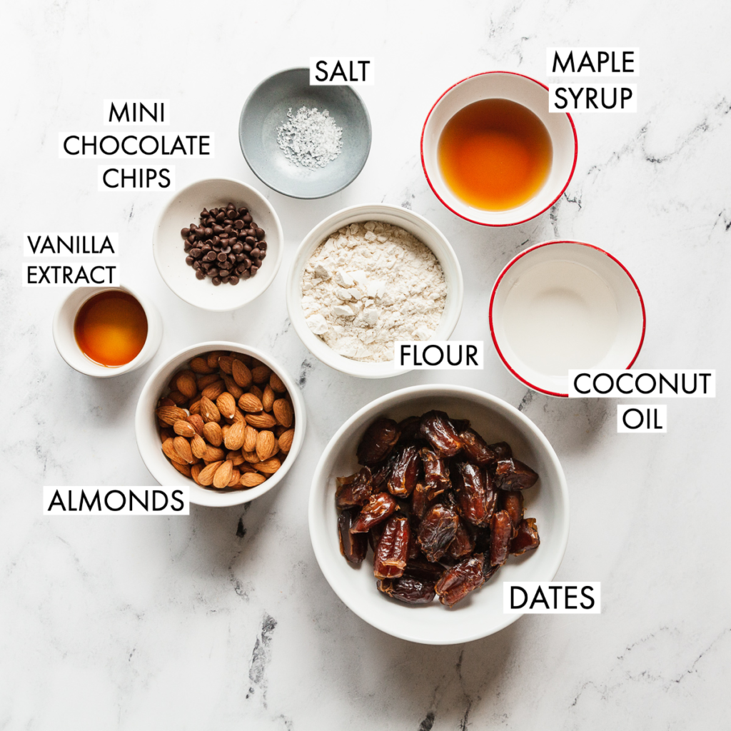 ingredients for vegan cookie dough bars