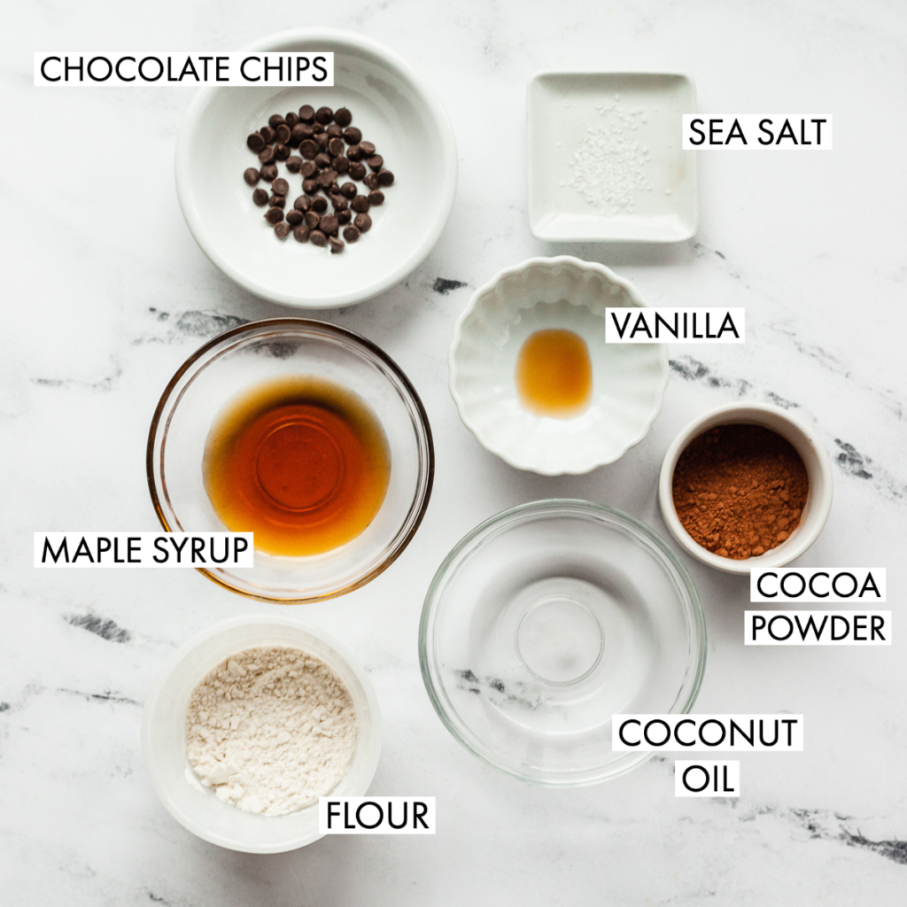 ingredients for double chocolate chip cookie dough