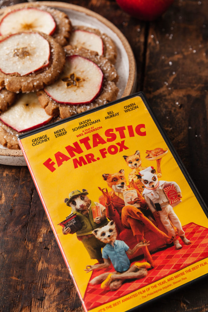 dvd cover for Fantastic Mr. Fox with a plate of cookies