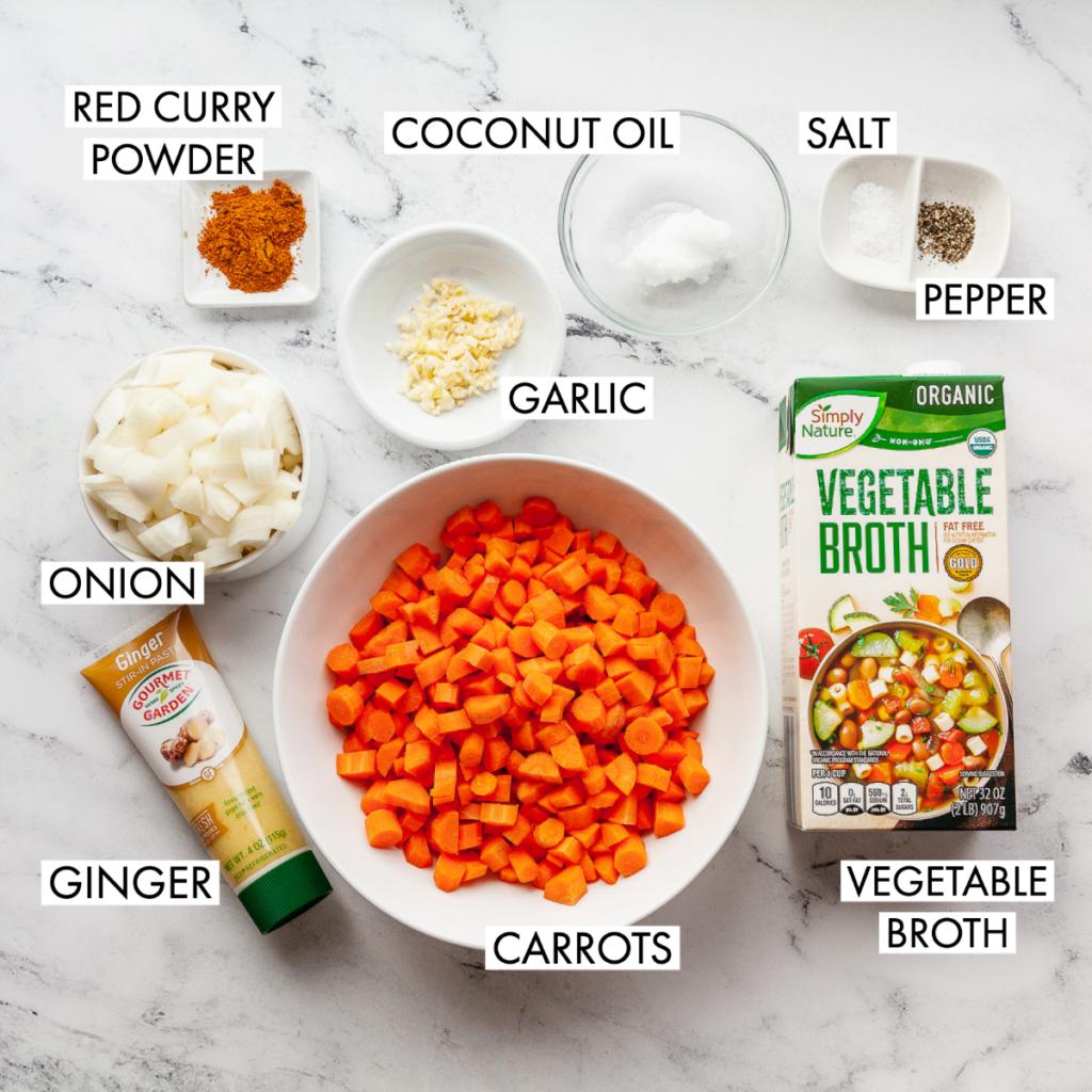 ingredients for vegan carrot ginger soup