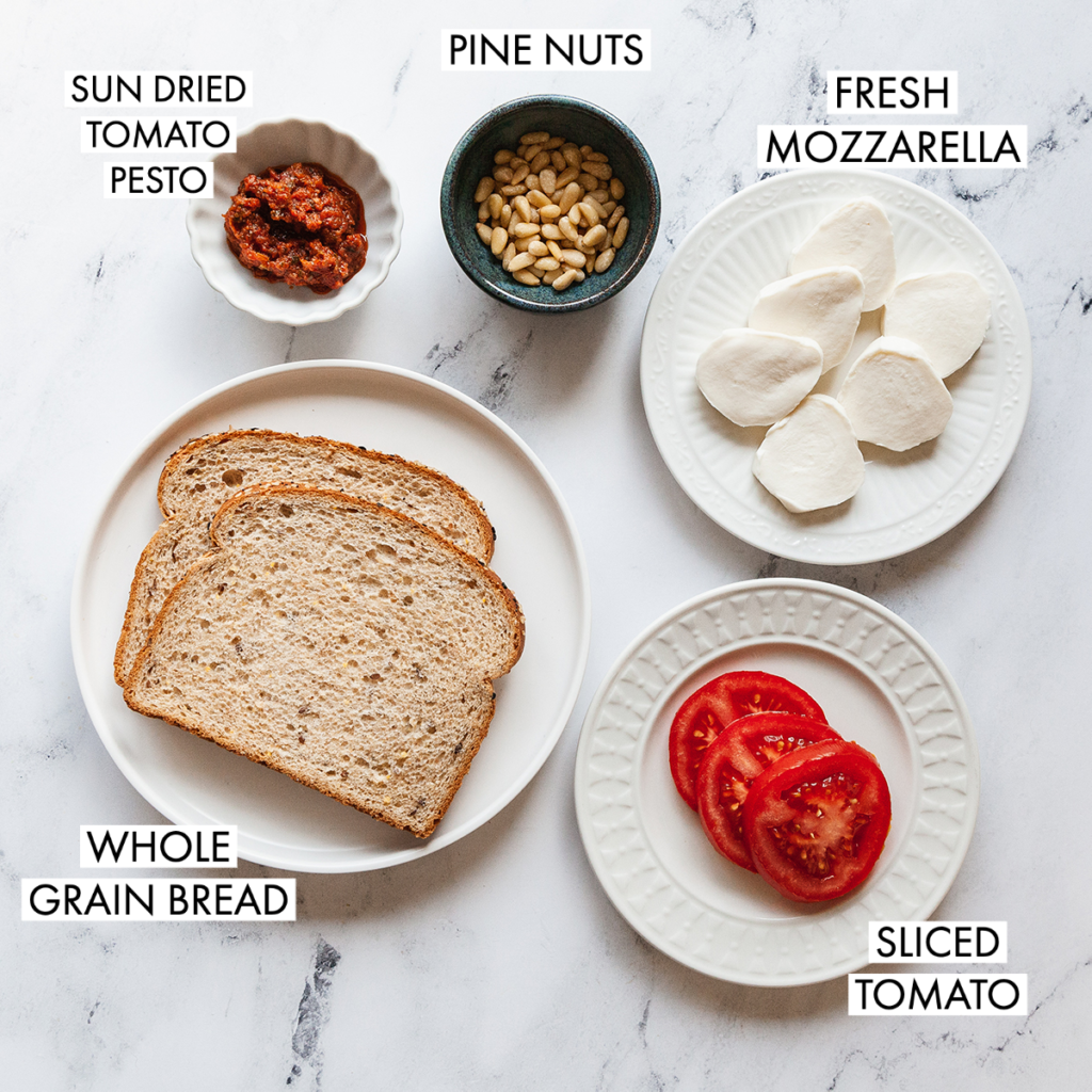 ingredients for a sun dried tomato pesto panini