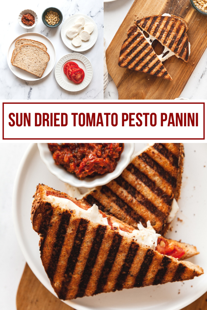 collage image for sun dried tomato pesto sandwich