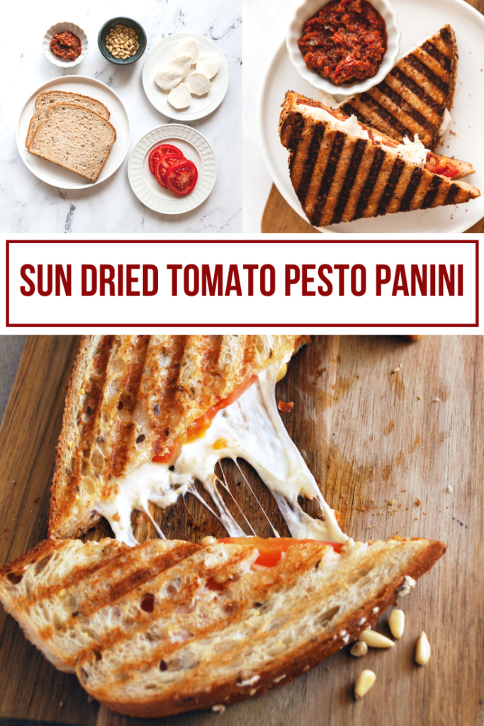collage image showing a sun dried tomato pesto panini