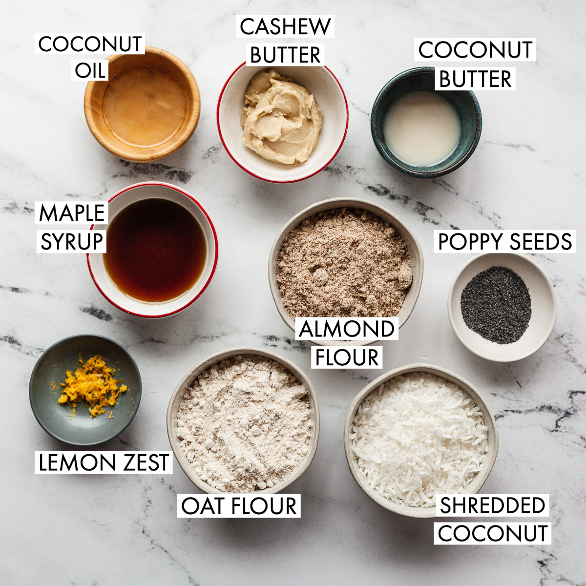 ingredients for lemon poppy seed protein balls