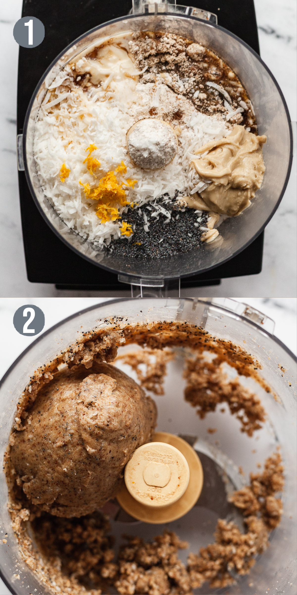 two photos showing before and after processing ingredients for lemon poppy seed energy balls