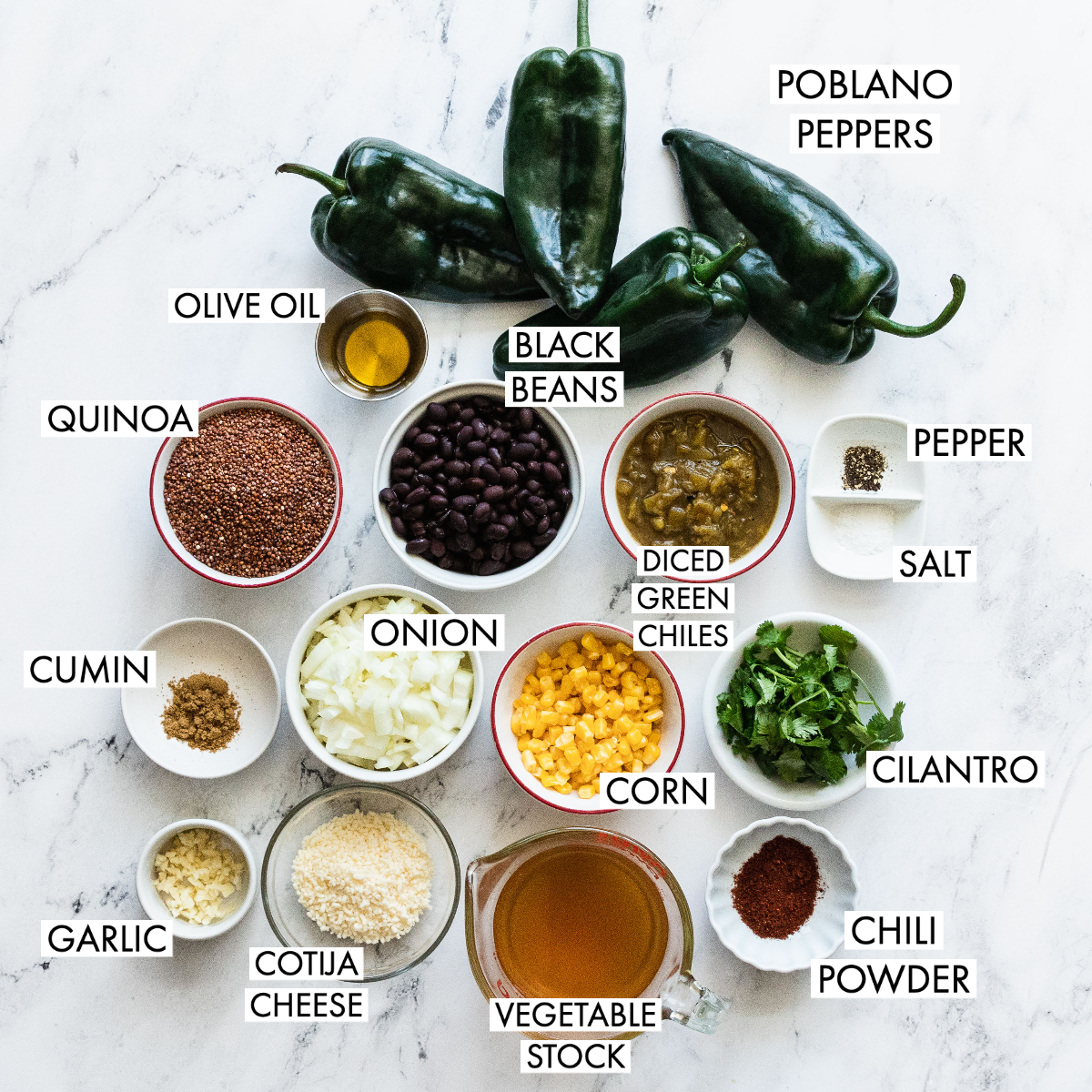 ingredients of stuffed poblano peppers