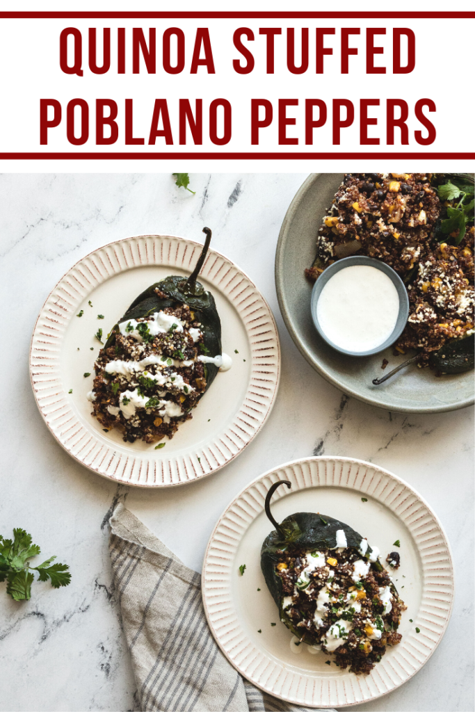 pinterest image of vegetarian stuffed poblano peppers on three plates