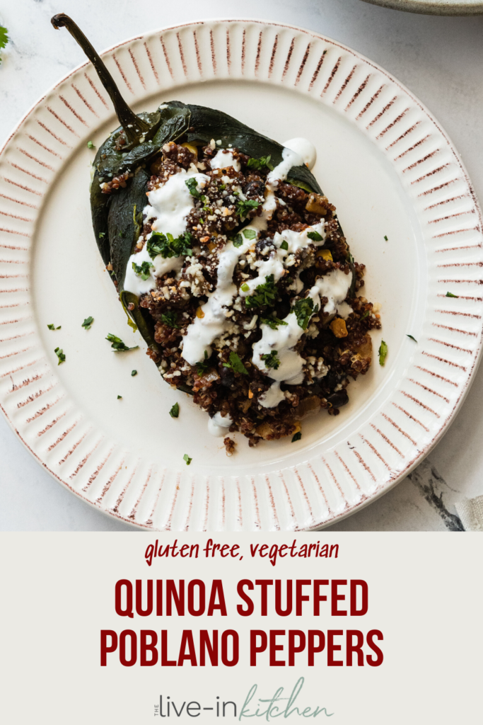 Vegetarian Stuffed poblano Peppers on plate