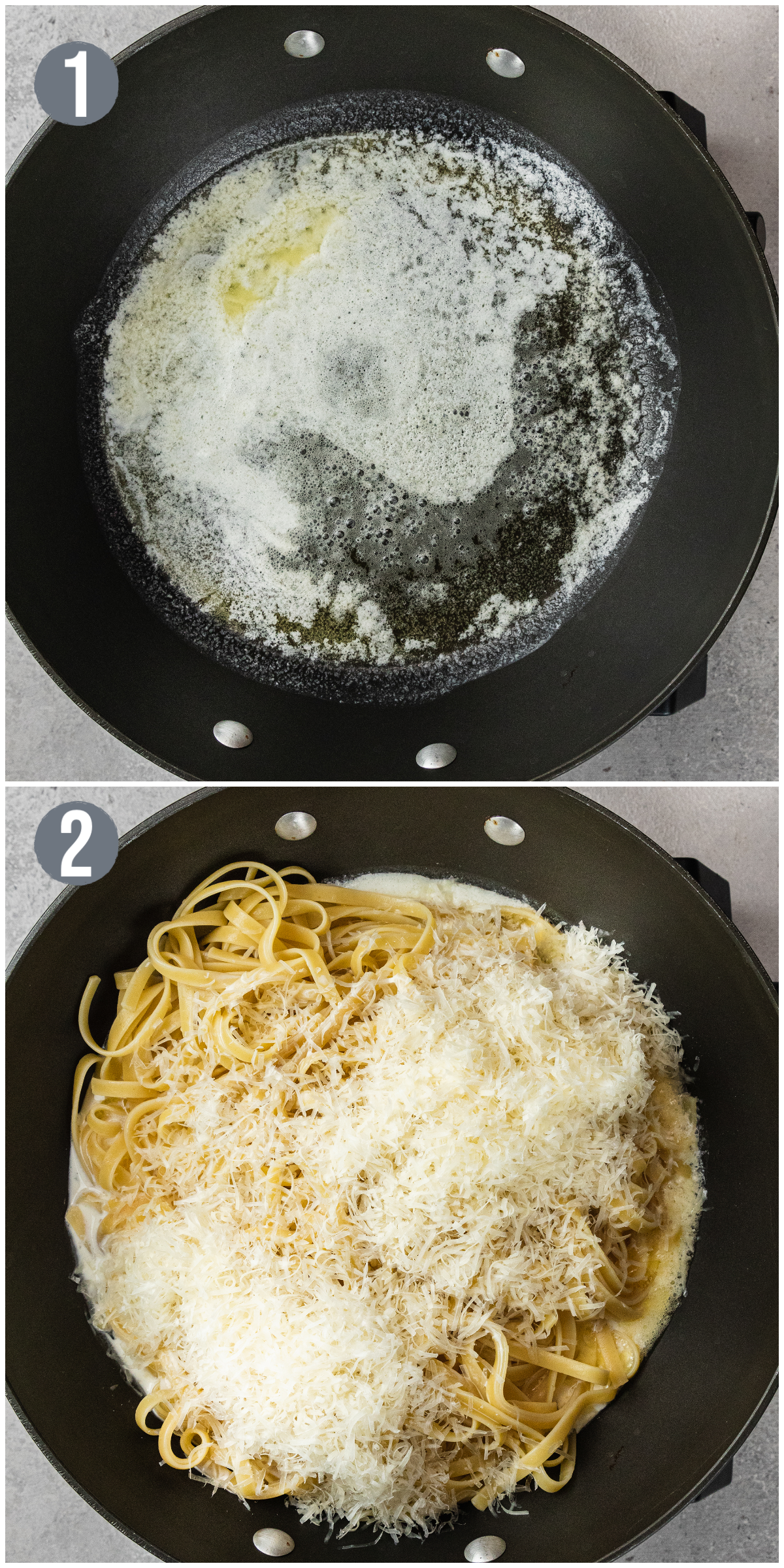 images showing a pan melting butter and a pan combining ingredients of fettuccine alfredo