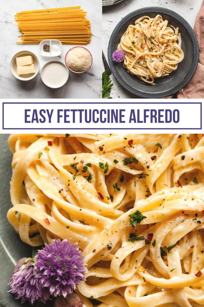 pinterest collage of fettuccine alfredo