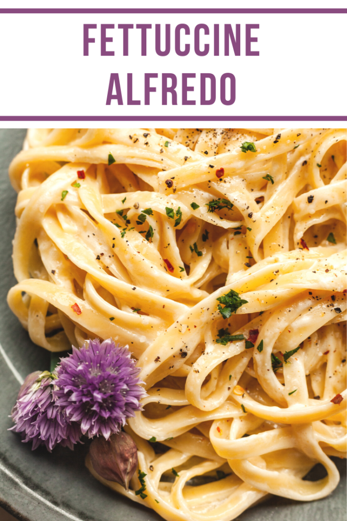 pinterest image closeup of fettuccine alfredo