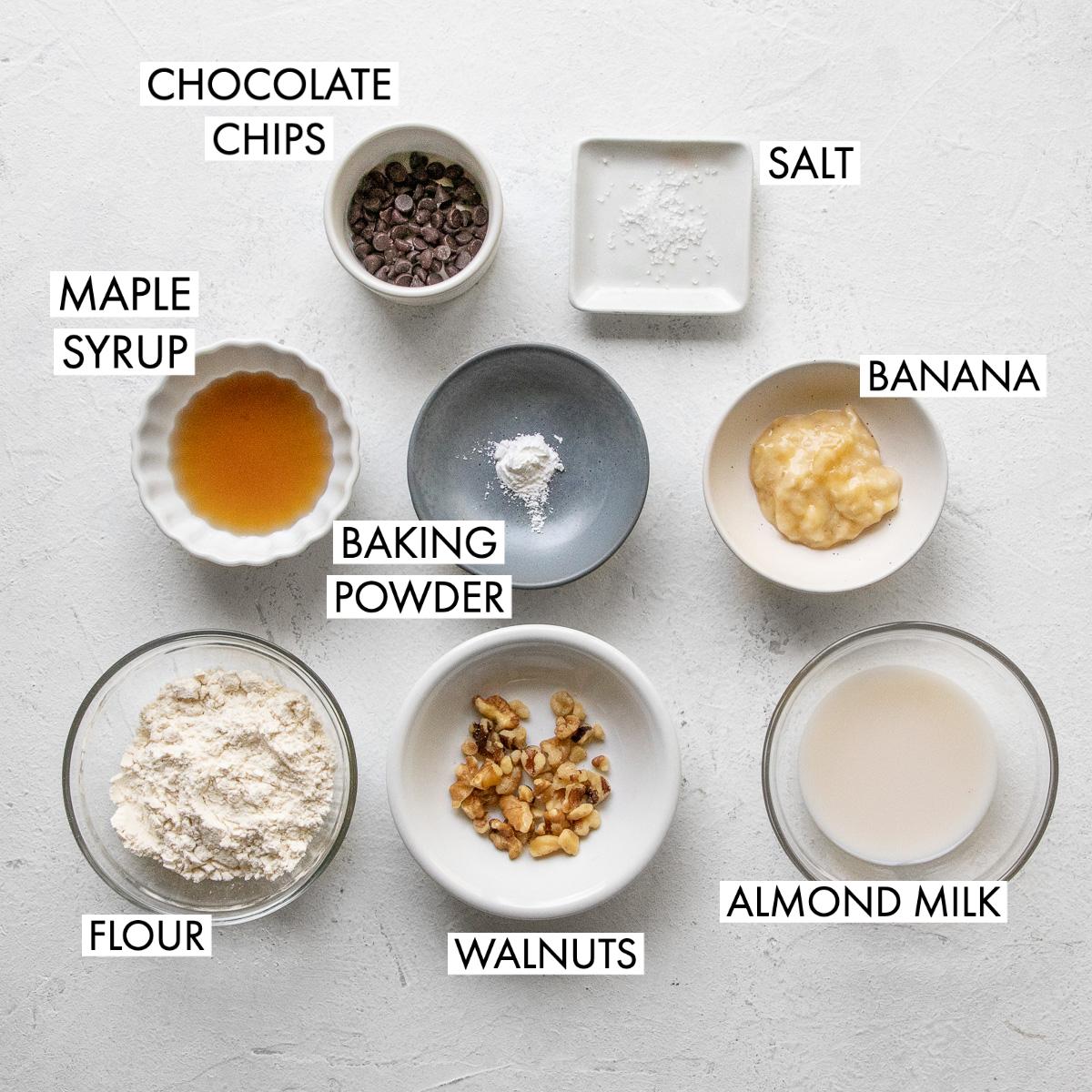 image of top view of banana bread mug cake ingredients