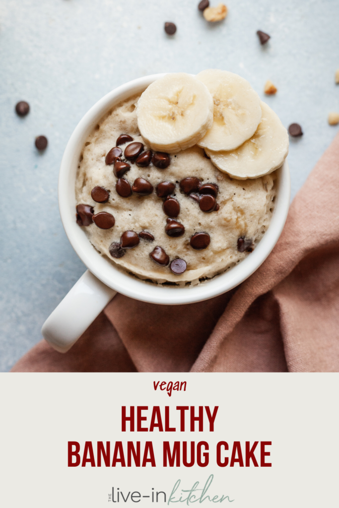 pinterest image of healthy banana mug cake