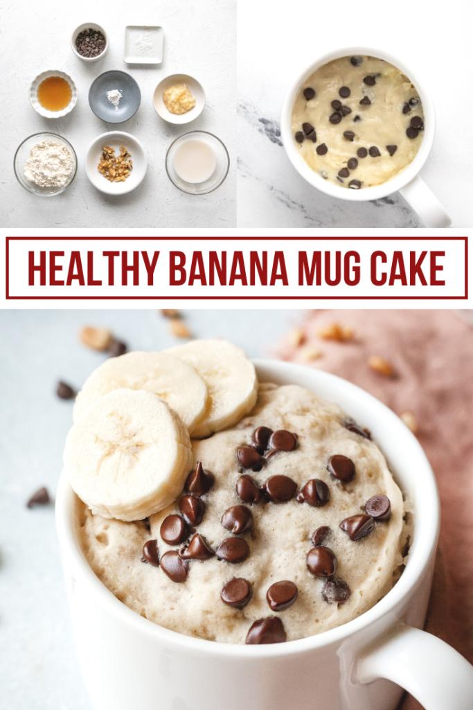 pinterest collage impage of banana mug cake with ingredients