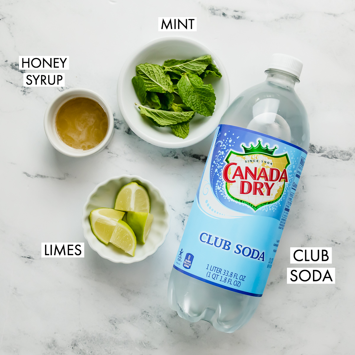 ingredients for a mojito mocktail