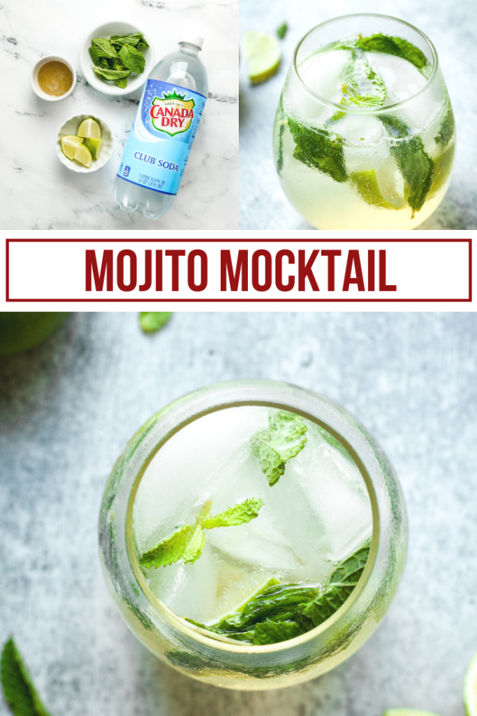 collage showing ingredients and finished product for a virgin mojito