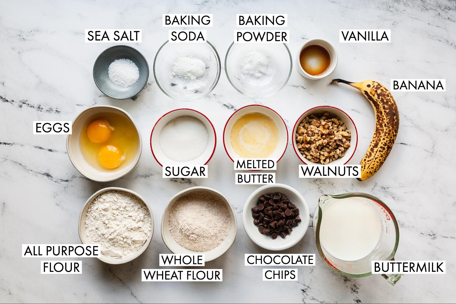 image of ingredients for banana walnut pancakes