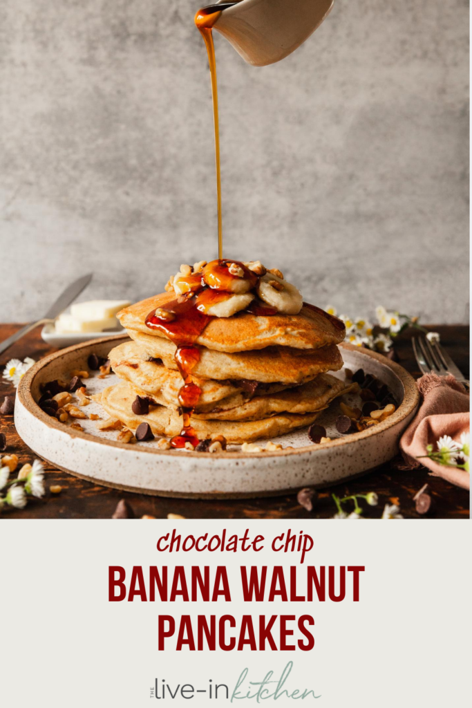 pinterest image of banana walnut pancakes drizzled with syrup