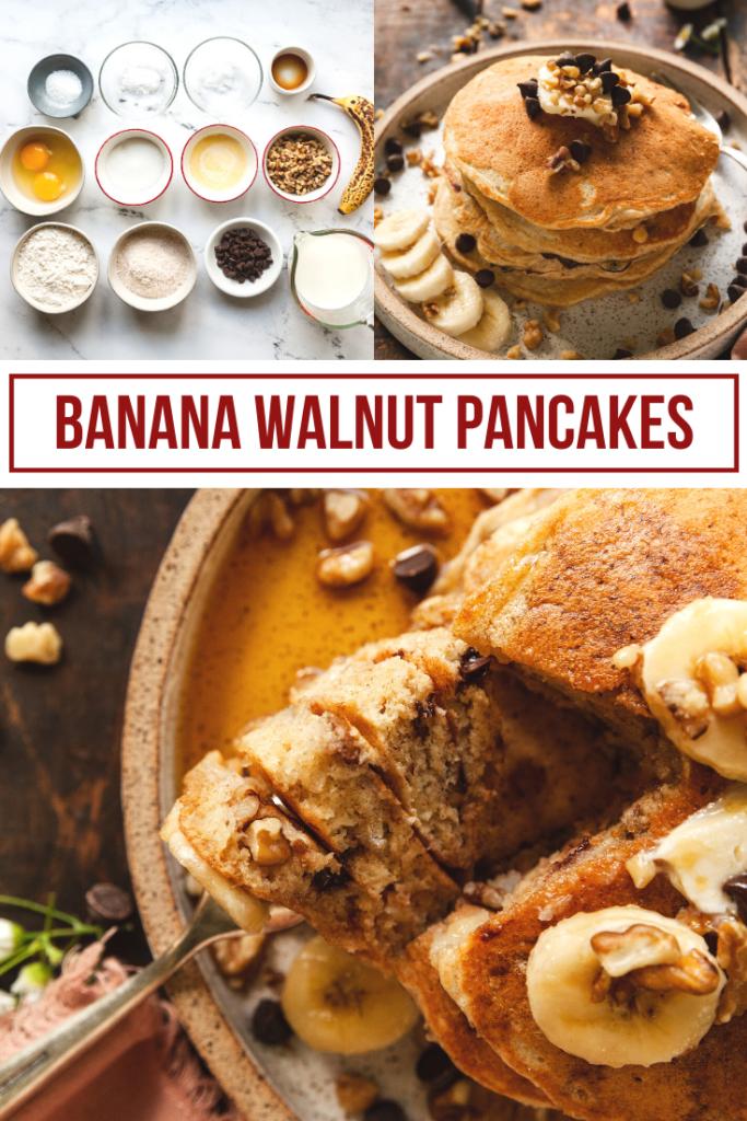 pinterest collage of banana walnut pancakes