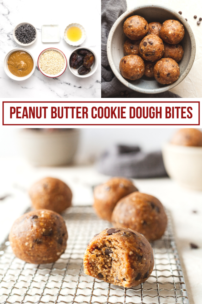 pinterest collage of peanut butter cookie dough bites