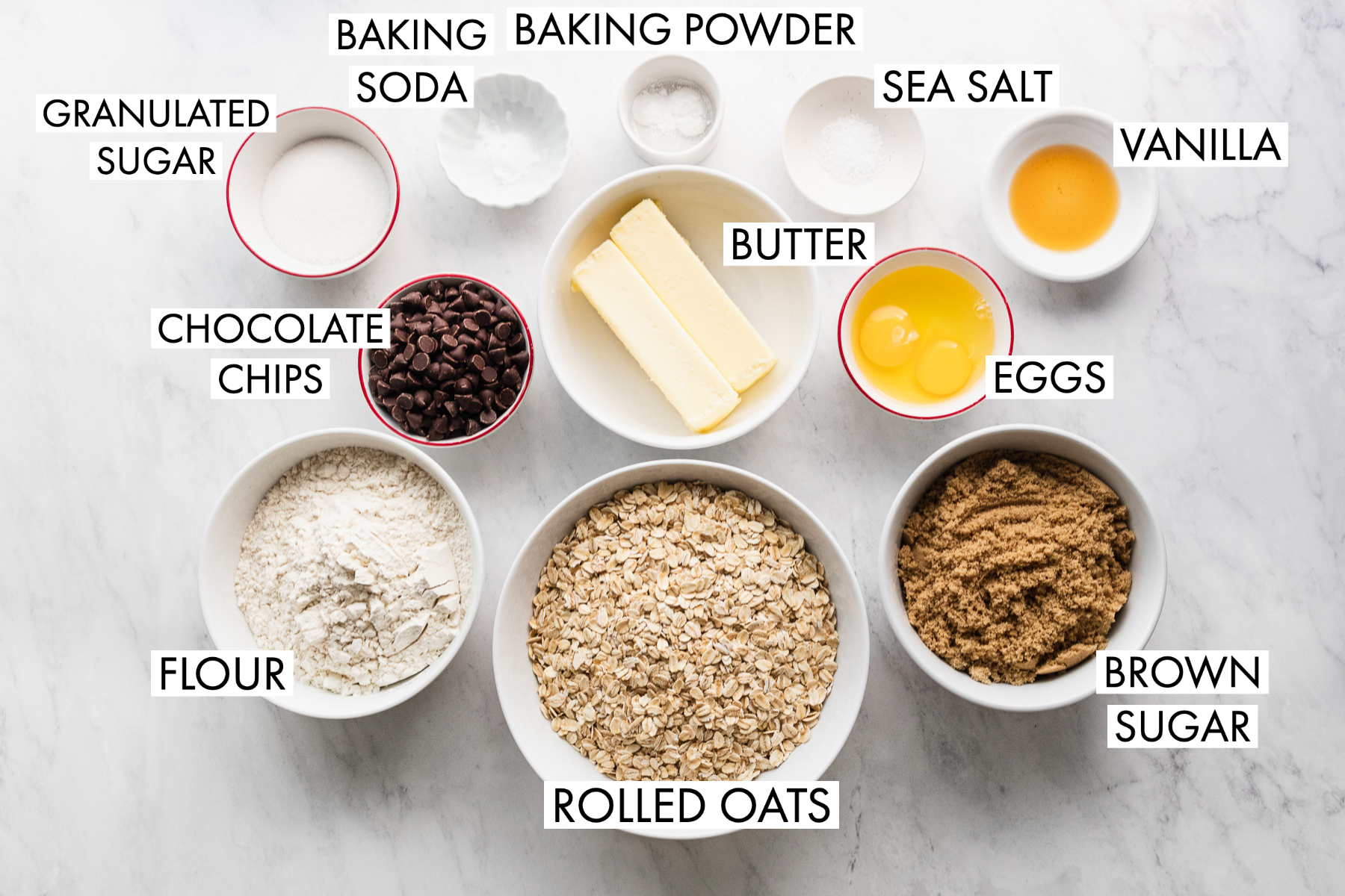 image of oatmeal chocolate chip cookies ingredients